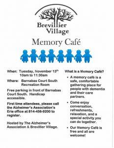 Memory Cafe. Brevillier Village.