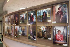 Pictures of past employees on Wall of Fame at Brevillier Village.