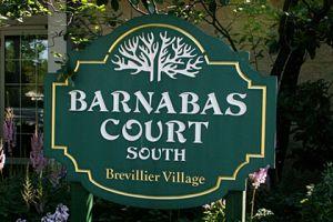Barnabas Court South sign at Brevillier Village.