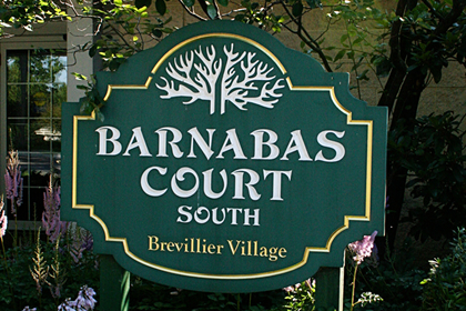 Barnabas Court South sign at Brevillier Village.