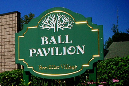 Ball Pavilion Sign at Brevillier Village.